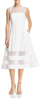 Aidan Mattox Lace-Inset Crepe Dress