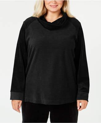 Karen Scott Plus-Size Velour Cowl-Neck Top