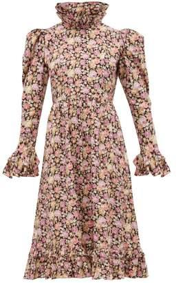 Batsheva Ruffled Floral Print Cotton Dress - Womens - Pink Multi