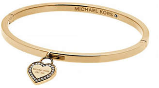 Michael Kors Logo Goldtone Heart Charm Bangle Bracelet