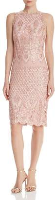 Tadashi Shoji Sequin-Embroidered Floral Sheath Dress