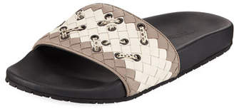 Bottega Veneta Woven Pool Slide Sandal with Stitching
