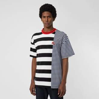 Burberry Contrast Stripe Cotton T-shirt , Size: M, Blue