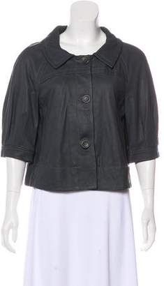 Theory Pointed Collar Leather Jacket