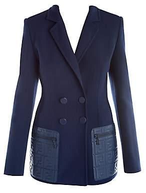 Fendi Women's Leather Pocket Wool Crepe & Knit Blazer