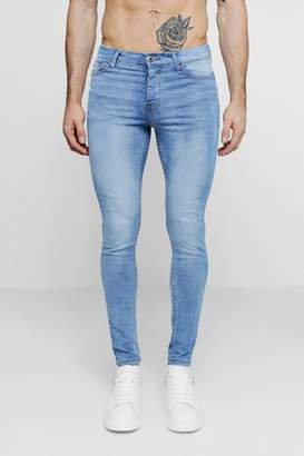 boohoo Spray On Skinny Jeans In Washed Blue