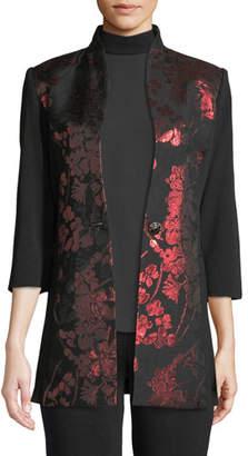 Misook Metallic Floral-Inset Jacket, Petite