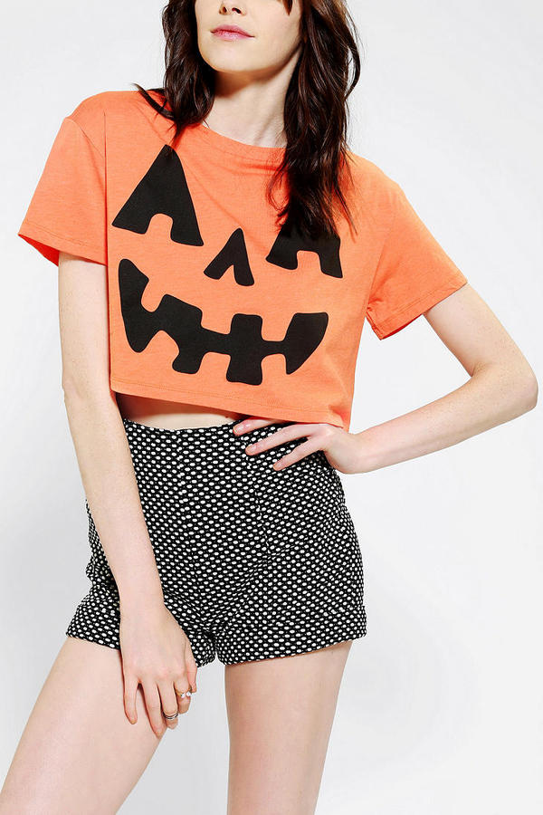 Urban Outfitters Corner Shop Pumpkin Cropped Tee