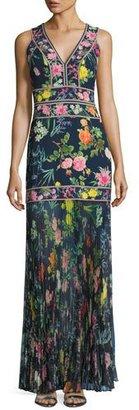 Tadashi Shoji Sleeveless Floral Chiffon Gown, Blue $548 thestylecure.com
