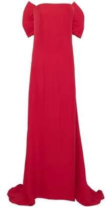 Oscar de la Renta Strapless Bow-Embellished Pleated Silk Gown