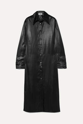 Acne Studios Dimara Satin Shirt Dress - Black