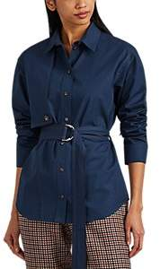 Cédric Charlier Women's Cotton Poplin Belted Shirt - Navy