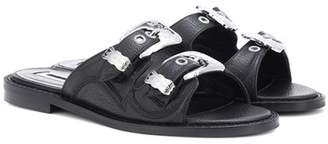 McQ Moon Buckle leather slides