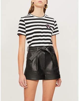 Maje Amino logo-embroidered striped stretch-cotton T-shirt