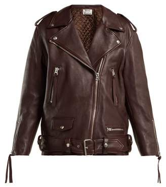 Acne Studios Leather Jacket - Womens - Burgundy