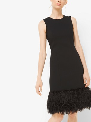 Michael Kors Feather-Embroidered Crepe Shiftdress