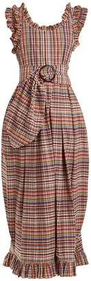 Isa Arfen Ruffle-trimmed checked belted dress