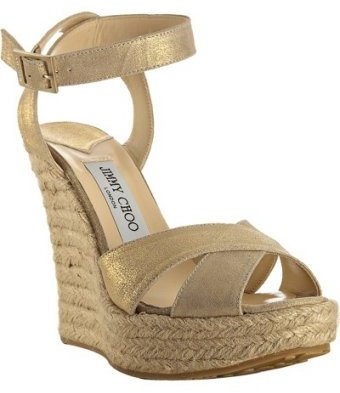 Jimmy Choo gold leather 'Phoenix' ankle wrap wedges