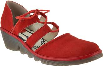 Fly London Leather Closed Toe Lace-up Wedges - Poma