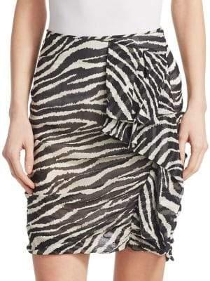 Etoile Isabel Marant Gerene Zebra Print Ruched Mini Skirt