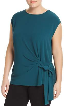 Vince Camuto Plus Mixed Media Side-Tie Top