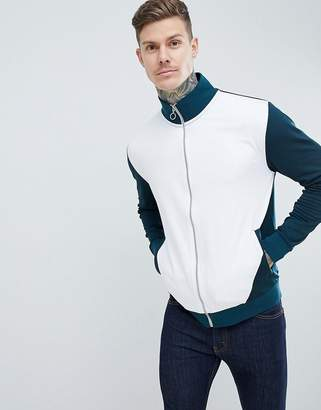 Asos DESIGN Retro Track Jacket In Green With White Color Blocking
