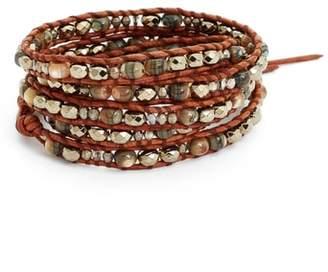 Chan Luu Mixed Semiprecious Stone Quintuple Wrap Bracelet