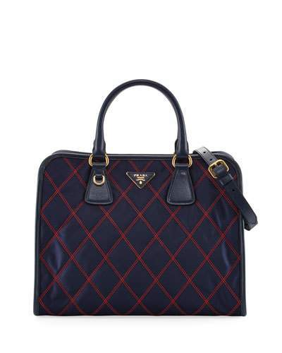 prada Prada Bicolor Quilted Nylon Medium Top Handle Bag, Blue/Red