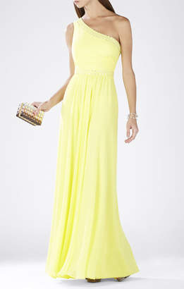 BCBGMAXAZRIA Daniele One-Shoulder Embellished Gown