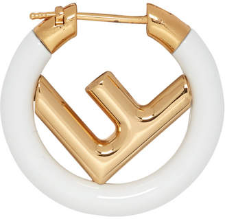 Fendi Gold and White F is Earring