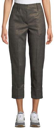 Brunello Cucinelli Shimmered Glen-Check Loose Cigarrette Pants