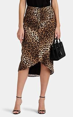 FiveSeventyFive Women's Ruched Leopard-Print Midi-Skirt