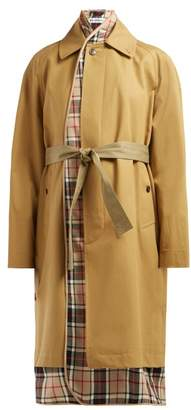 Balenciaga Check Lined Cotton Twill Trench Coat - Womens - Beige Multi