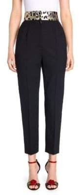 Dolce & Gabbana Metallic Leopard Side Stripe Ankle Pants