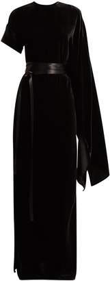 Awake Asymmetric draped velvet maxi dress