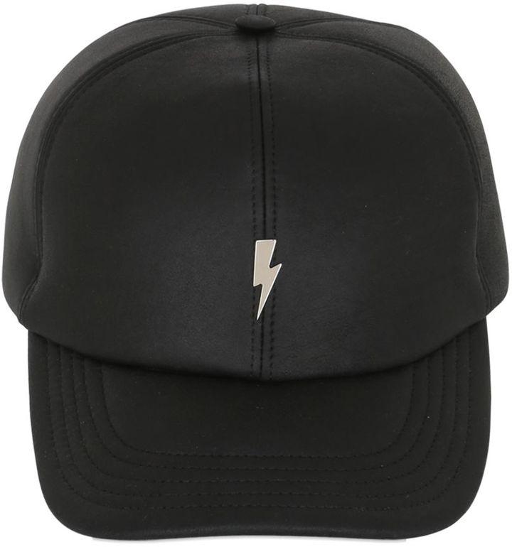 Bolt Leather Baseball Hat