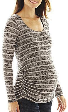 JCPenney Asstd National Brand Maternity Long-Sleeve Striped Tee