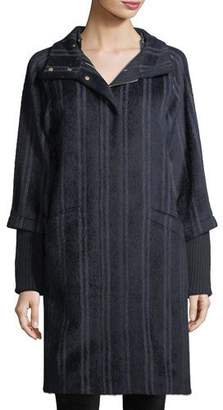 Bogner Wendy Mixed-Media Striped Hooded Alpaca-Blend Coat