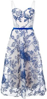 Marchesa sleeveless floral midi dress