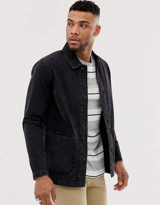 Asos Design DESIGN denim worker jacket in washed black