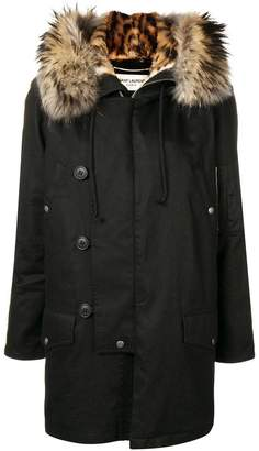 Saint Laurent fur trimmed hooded parka