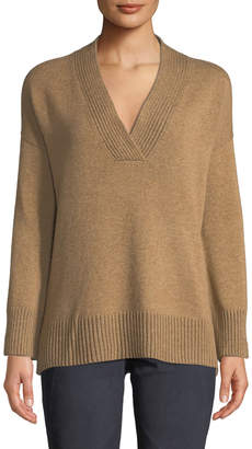 Lafayette 148 New York Vanise Ribbed V-Neck Cashmere Sweater
