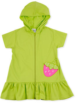 Florence Eiseman Strawberry Festival Jersey Coverup, Lime, 4-6X