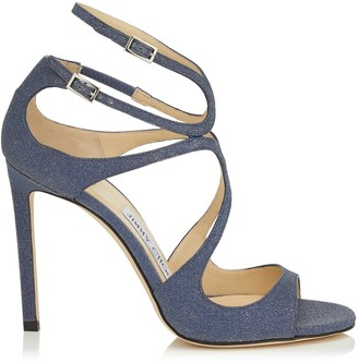 Jimmy Choo LANG Navy Fine Glitter Leather Sandals
