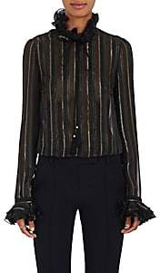 Philosophy di Lorenzo Serafini Women's Striped Ruffled Silk-Blend Blouse