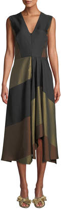 Zero Maria Cornejo Wave V-Neck Sleeveless Colorblocked Striped-Jacquard A-Line Dress
