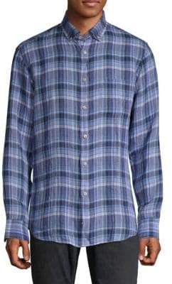 Paul & Shark Plaid Linen Button-Down Shirt