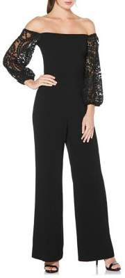 Laundry by Shelli Segal Embroidered-Sleeve Off-The-Shoulder Jumpsuit