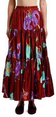 Double J Floral Print Tiered-Silk Maxi Skirt
