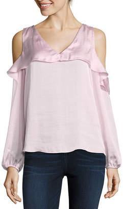 Libby Edelman Long Sleeve Cold Shoulder Ruffle Top